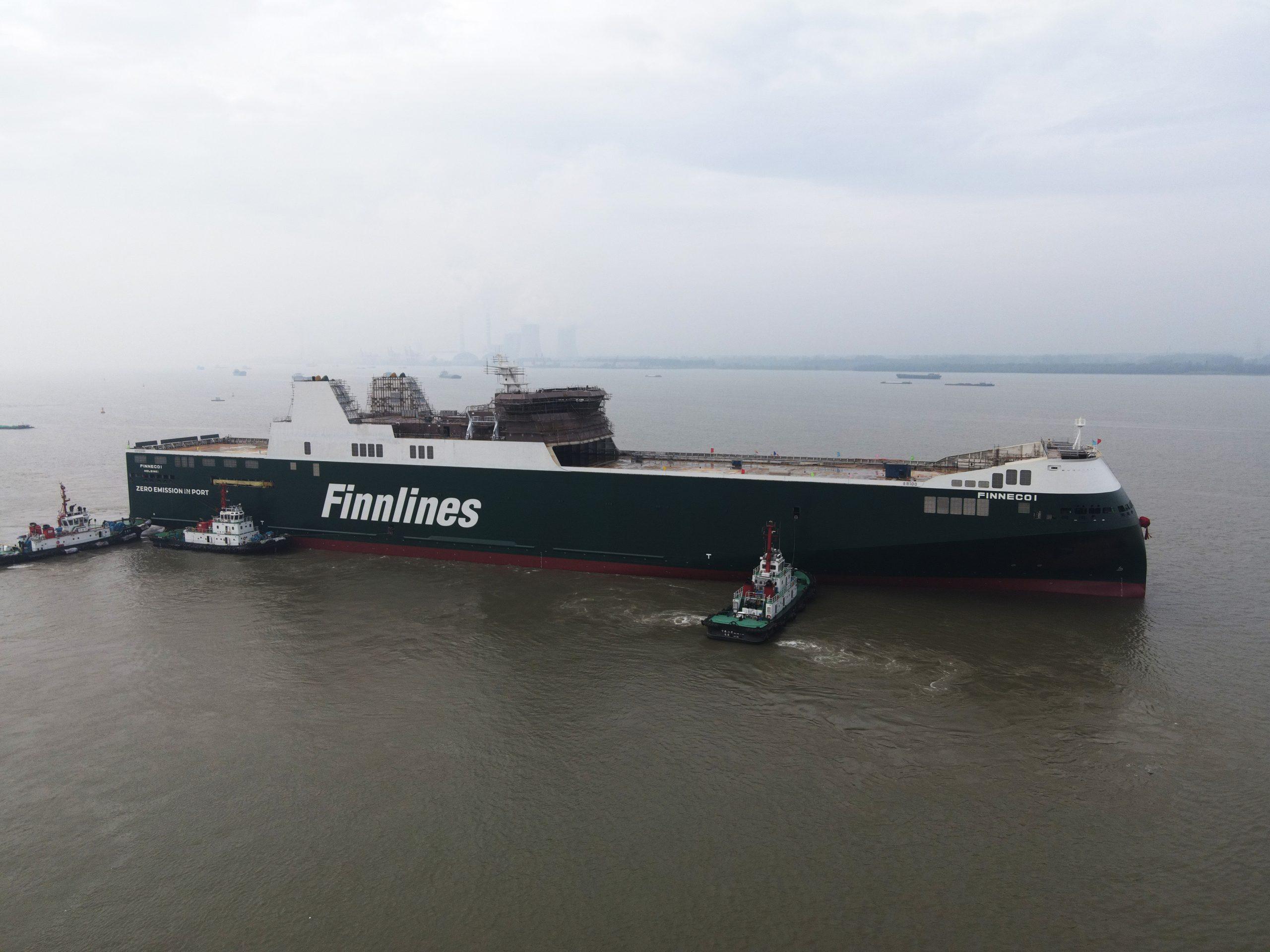 :KATSO VIDEO: Finnlinesin uusi huippuekologinen roro-alus laskettu vesille